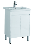 600mm PVC Vanity on legs with Waterproof Cabinet & Soft closing doors