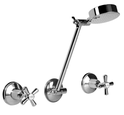 Dallas Shower Set available in chrome/ivory/white & chrome/gold dress rings, WELS 3 star rating, 9L/min