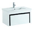 750mm PVC Wall Hung Vanity with Waterproof Cabinet & Soft closing drawers - Black & White