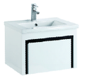 600mm PVC Wall Hung Vanity with Waterproof Cabinet & Soft closing drawers - Black & White