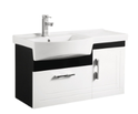 BW920 PVC Wall Hung LH side bowl Vanity with Waterproof Cabinet - Black & White