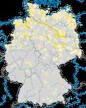 Karte zur Verbreitung der Knäkente (Spatula querquedula) während der Brutzeit
