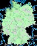 Karte zur Verbreitung der Brandgans (Tadorna tadorna) in Deutschland im Jahresverlauf.