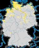Karte zur Verbreitung der Brandgans (Tadorna tadorna) in Deutschland während der Brutzeit.
