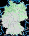 Karte zur Vebreitung der Krickente (Anas crecca) in Deutschland zur Brutzeit.