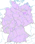 Karte zum Vorkommen der Knäkente (Spatula querquedula) in Deutschland zur Zugzeit