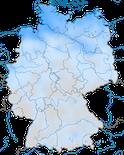 Karte zur Verbreitung der  Weißwangengans (Branta leucopsis) in Deutschland im Winter.