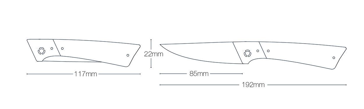 Zeichnung mit Maßen von Facto Messermanufaktur Taschenmesser