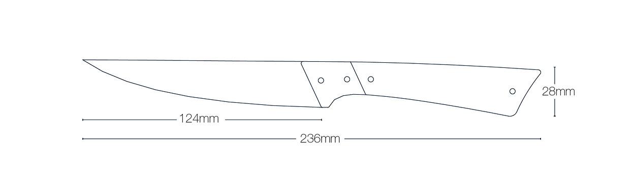 Zeichnung mit Maßen von Facto Messermanufaktur Kochmesser