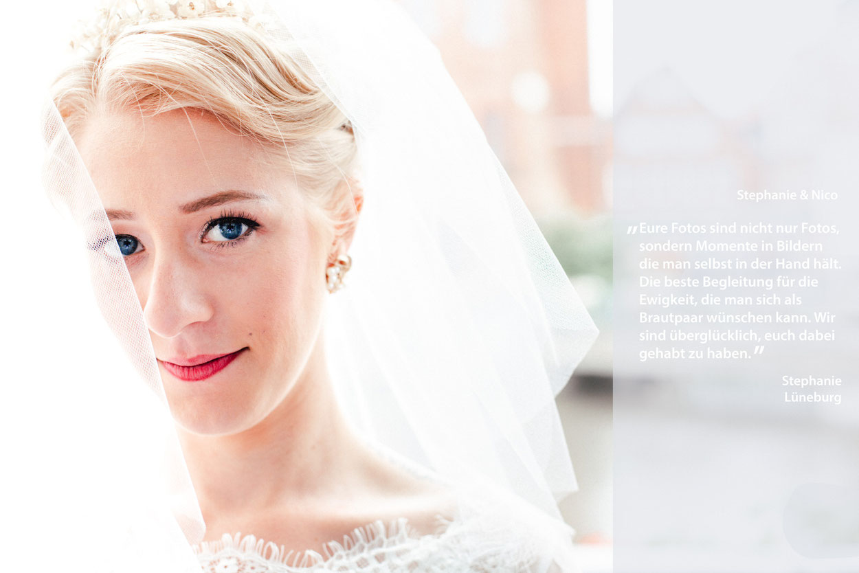 Braut mit Hochzeitsschleier und Bewertung für Hochzeitsfotograf Lüneburg FOTOFECHNER