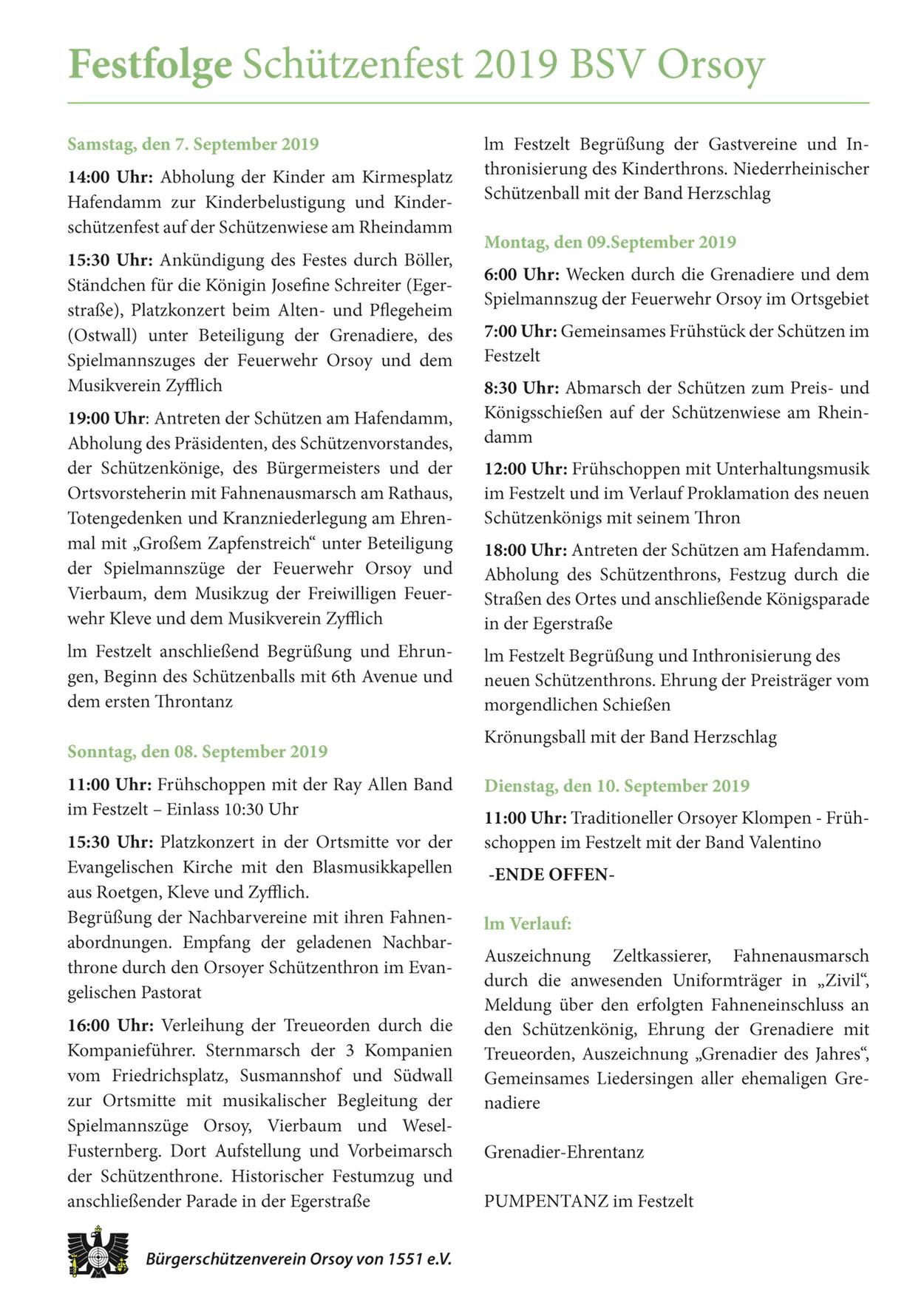 Samstag, 07.09.2019, Sonntag, 08.09.2019, Montag, 09.09.2019, Dienstag, 10.09.2019, Pumpentanz, Grenadier-Ehrentanz, Kinderschützenfest, Kinderbelustigung, Kranzniederlegung am Ehrenmal, Schützenball, Sternmarsch, Königsschießen, Königsparade, Klompen