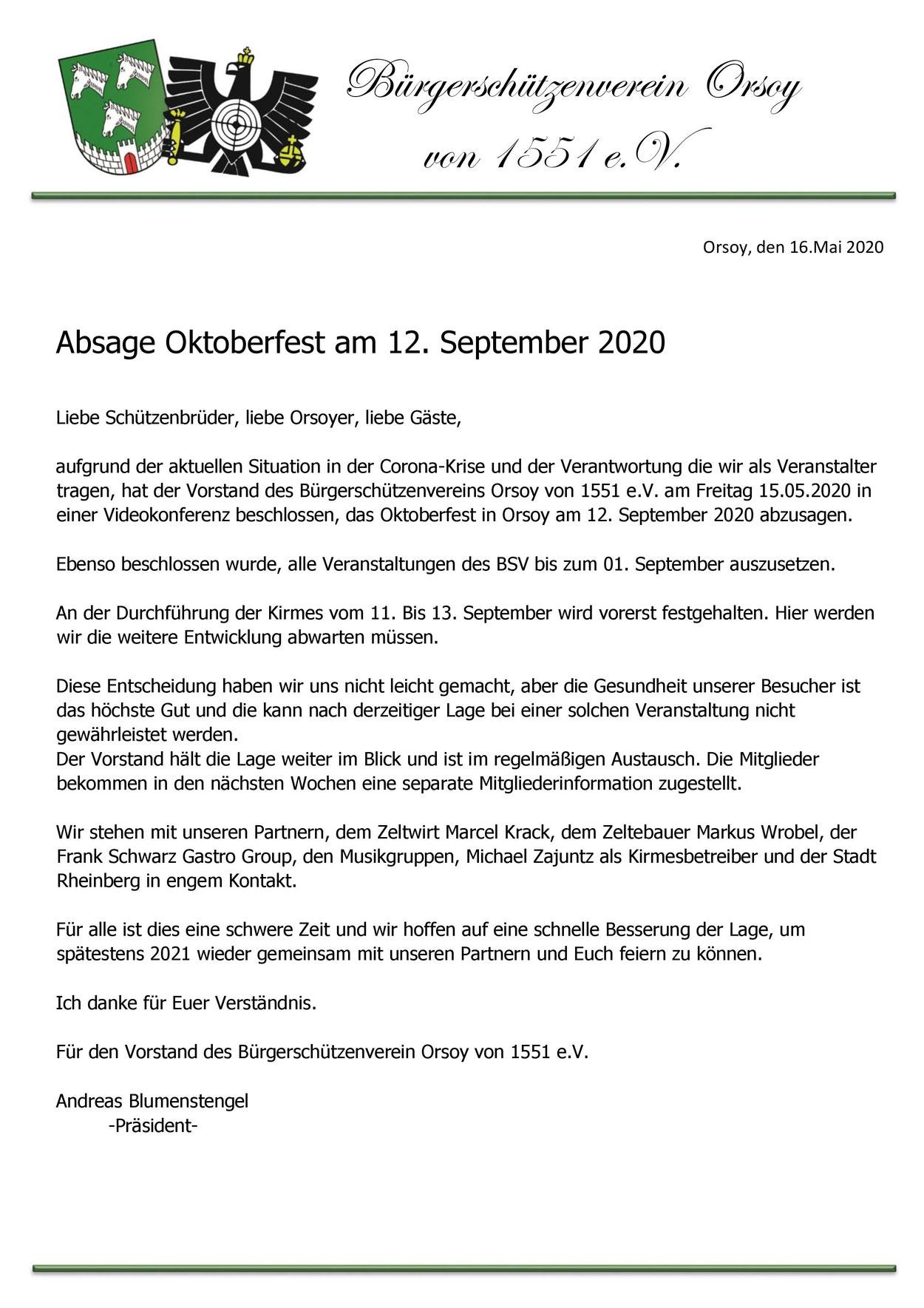Absage Oktoberfest 2020