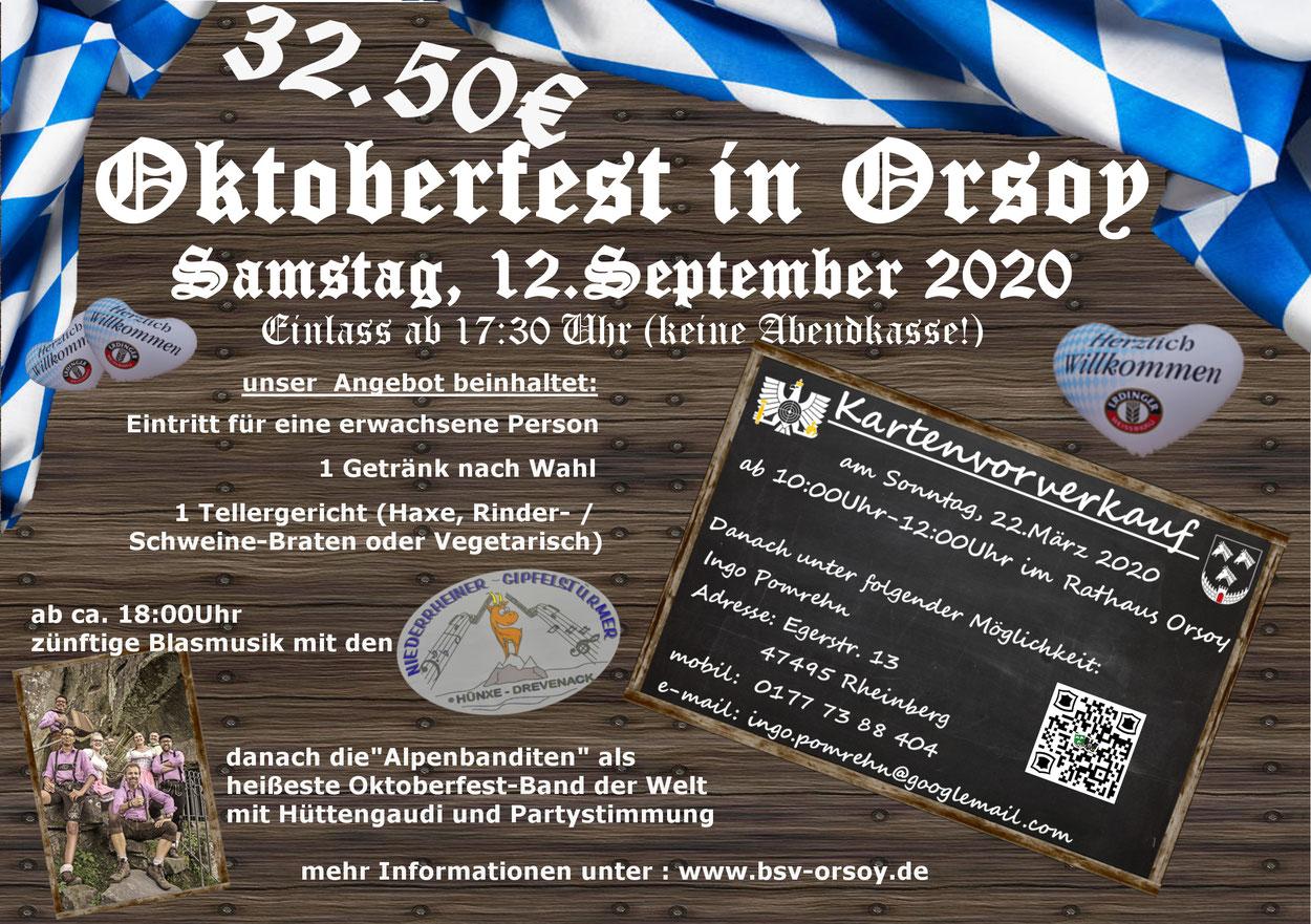 BSV-Orsoy, Oktoberfest in Orsoy, Oktoberfest, Orsoy, Bürgerschützenverein Orsoy