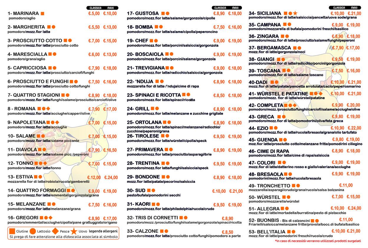 Listino pizze In vigore dal 01/05/2021 _ Pizzeria Rosticceria Al Papero giallo Bolzano