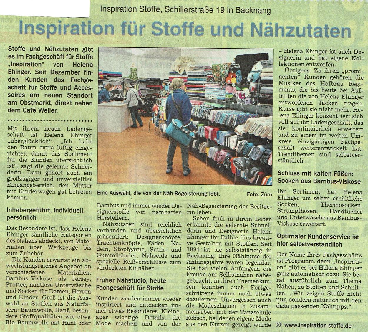 Pressebericht über Inspiration Stoffe am 20.12.2018