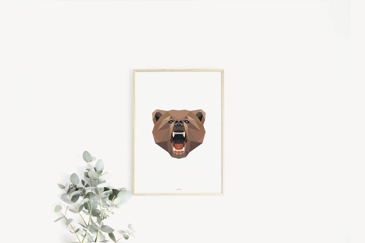 Poster Print Geschenkideen Bär Poly