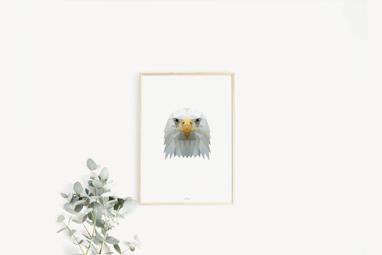 Poster Print Geschenkideen Adler Poly