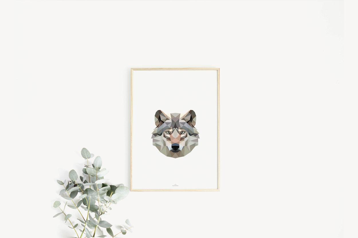 Poster Print Geschenkideen Wolf Poly