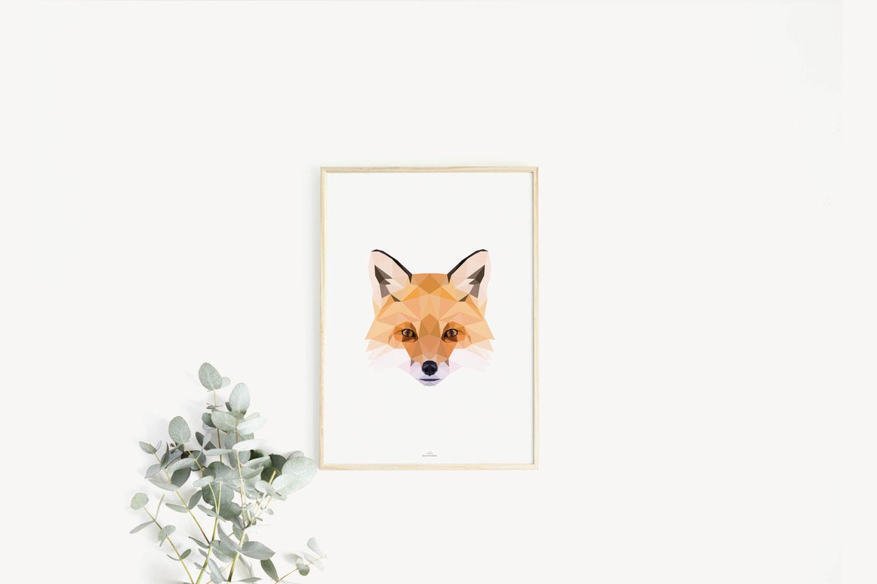 Poster Print Geschenkideen Fuchs Poly