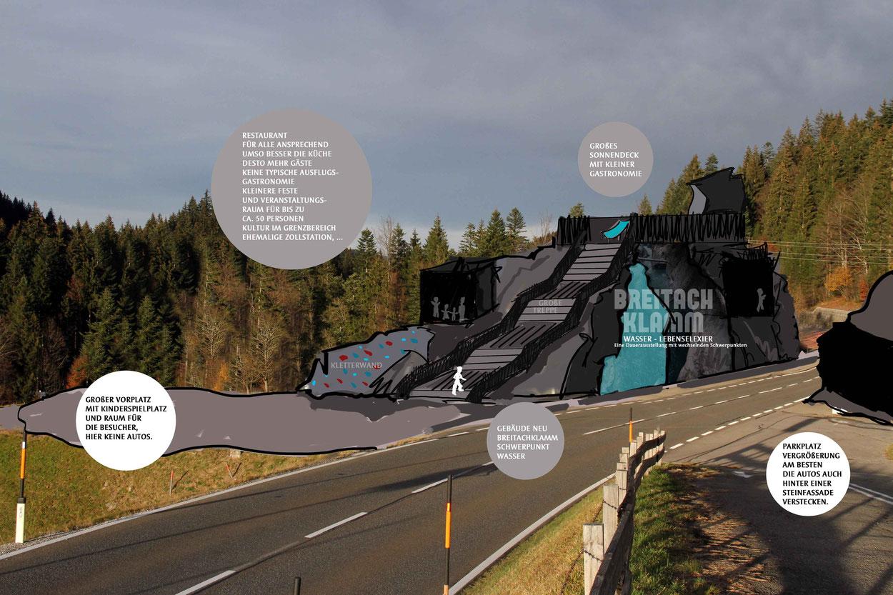 Idee Breitachklamm –neues Gebäude mit Ausstellung, Gastronomie, Information und Breitachklamm-Info