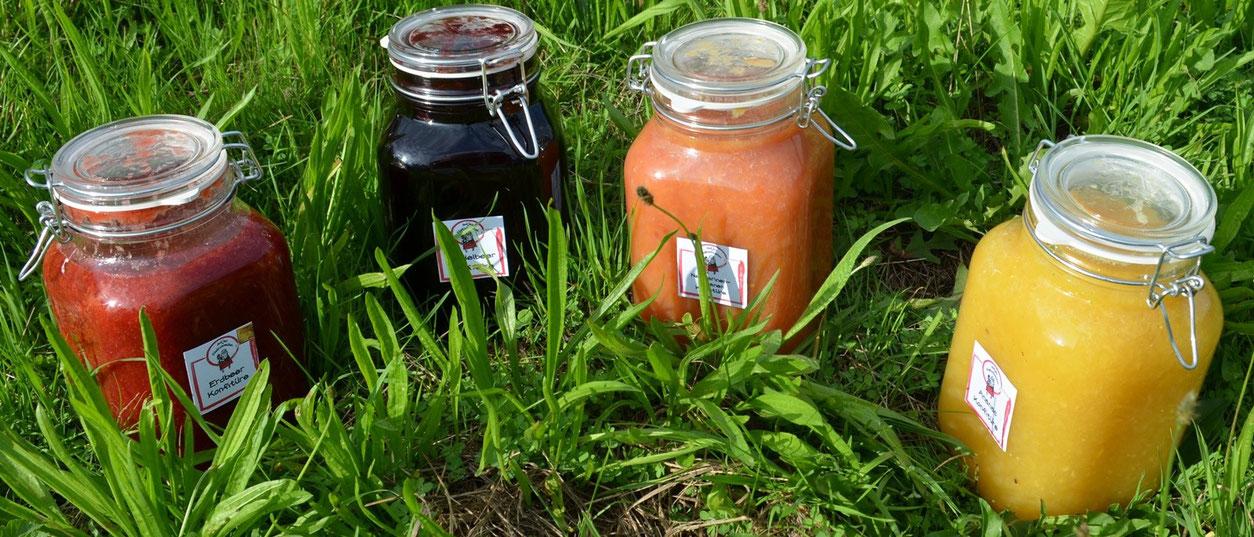 Leckere Konfitüren; im Bild sind Erdbeer, Heidelbeer, Aprikose mit Banane und Ananas-Konfitüre.