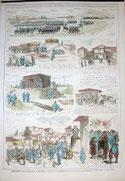 Origen de los grabados siguientes, Illustration Francaise 1874.Grabado Xilográfico acuarelado a mano.