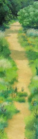 「いつもの道」油彩 109x379mm