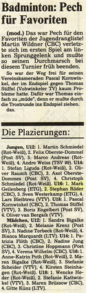 WZ vom 06.12.1991 Wuppertaler Rangliste Jugend