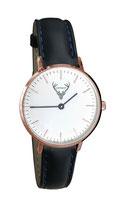 rosé Uhr mit schwartem Lederband Tracht