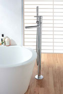 Straight Pin Lever Floor Mounted Freestanding Bath Filler Mixer with Hand Shower and Divertor Set