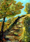 """""""Sur le Chemin...""""RLM 2015 n°77 H/T couteau 70x50. Disponible : 380€"""
