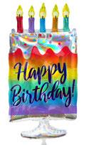 Folienballon Torte Geburtstagstorte Kuchen bunt Junge Mann Frau Mädchen Heliumballon Kindergeburtstag Geburtstag Deko Dekoration Party Bouquet Ballon Luftballon Happy Birthday