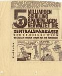 5 Milliarden Schilling Spareinlagen verwaltet die Zentralsparkasse der Gemeinde Wien. Inserat in Tageszeitung vermutlich vor 1965.