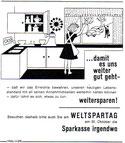 ...damit es uns weiter gut geht - weitersparen! Weltspartag 1964. Hausfrau verabschiedet Ehemann. Inseraten-Entwurf Sparkasse.