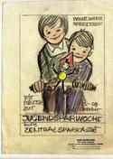 Immer wieder Sparefroh! Wir fahren am Weltspartag zur Jugendsparwoche der Zentralsparkasse. Plakat -Entwurf um 1970.