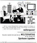 ...damit es uns weiter gut - weitersparen! Weltspartag 1964. Familie mit Kind im Wohnzimmer. Inseraten-Entwurf Sparkasse.