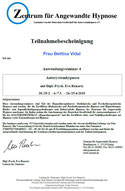 Zertifikat Autosystemhypnose - psychotherapeutische Hypnose