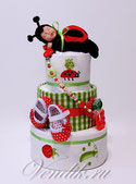 """Торт из памперсов с именным держателем для соски""""Маленькая Фея"""" с коллекционной игрушкой для малышки."""