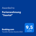 Booking.com Traveller Review Awards 2020: Ferienwohnung Saartal 9,6 von 10
