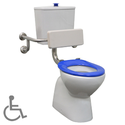 Plaza Assist Special Needs Toilet Suite with vitreous china cistern (Note: back rest is sold as a separate item), WELS 4 star rating, 4.5/3L