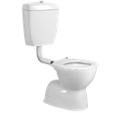 Cara Care Toilet Suite with vitreous China cistern. Available  with blue buttons and blue seat.