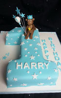 Number cakes - Number 1 boys blue and white birthday cake with monkey cake topper