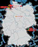 Karte zu den Nachweisen des Isabellsteinschmätzers in Deutschland