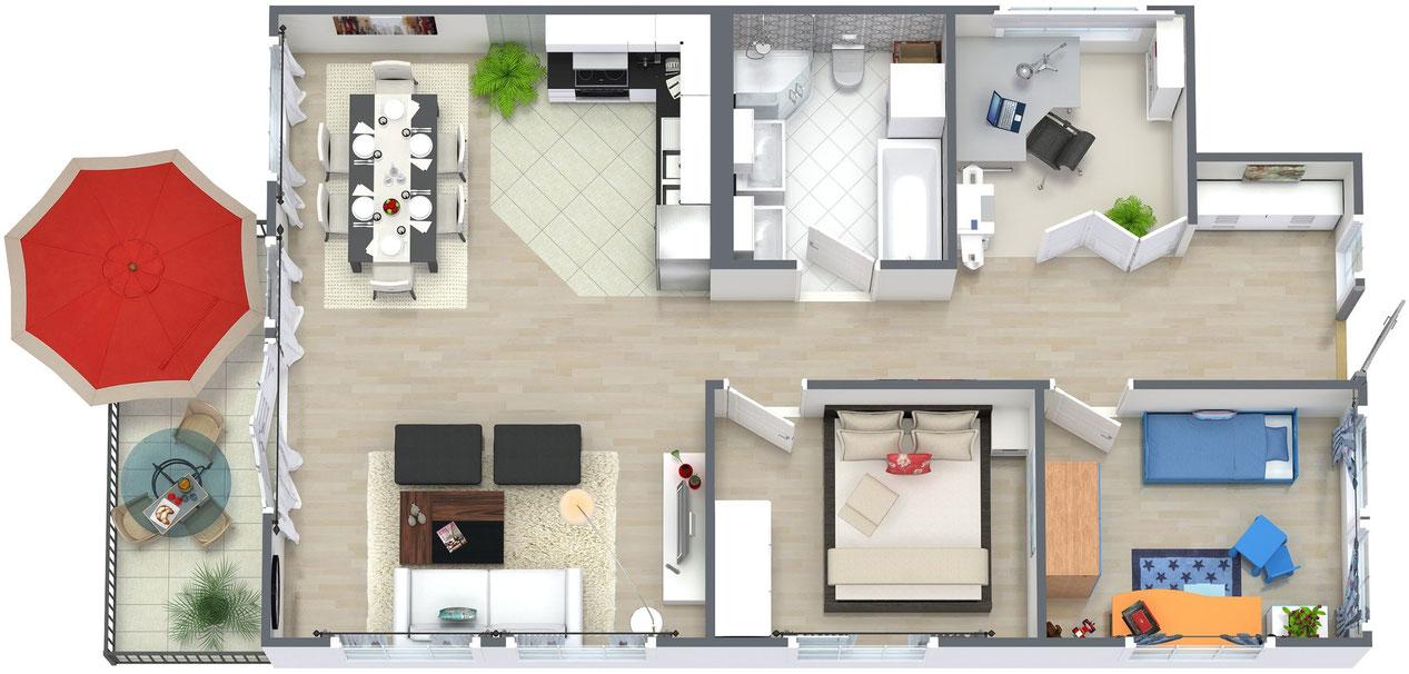 Wohnung als ferienwohnung vermieten grundriss knx for Wohnung 3d planer