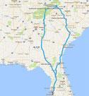 Übersichtskarte der Tour (Google Maps)