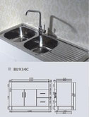 Double bowl stainless steel sink with cabinet LH bowl only - 1205mm specs