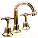 Brass gold Bastow Federation basin tap set, WELS 5 star rating, 6L/min