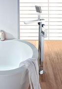 Square Floor Mounted Freestanding Bath Filler Mixer with Hand Shower and Divertor Set