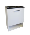 Ensuite 400 - Square bowl ensuite vanity 400x220mm Available in white poly bowl or frosted/black glass bowl