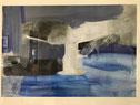 """Eva Hradil """"Blau2"""" oder """"Tisch"""" 1993, Acryl auf Papier, 70 x 100 cm"""